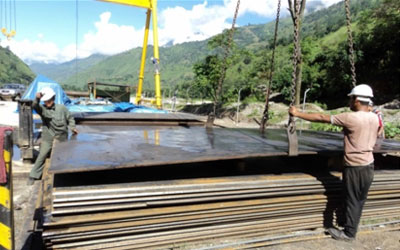 Arrival of High Tensile Steel Plates for Penstock Pipes of 355 Mpa