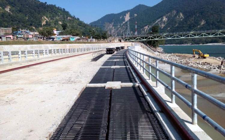 View of Gate Structures at downstream of Karnali River Bridge