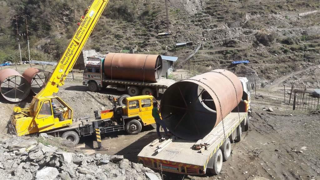 Unloading of Penstock Pipes of Sanjen(Upper) Hydroelectric Project (14.8MW) at Site Storage Yard