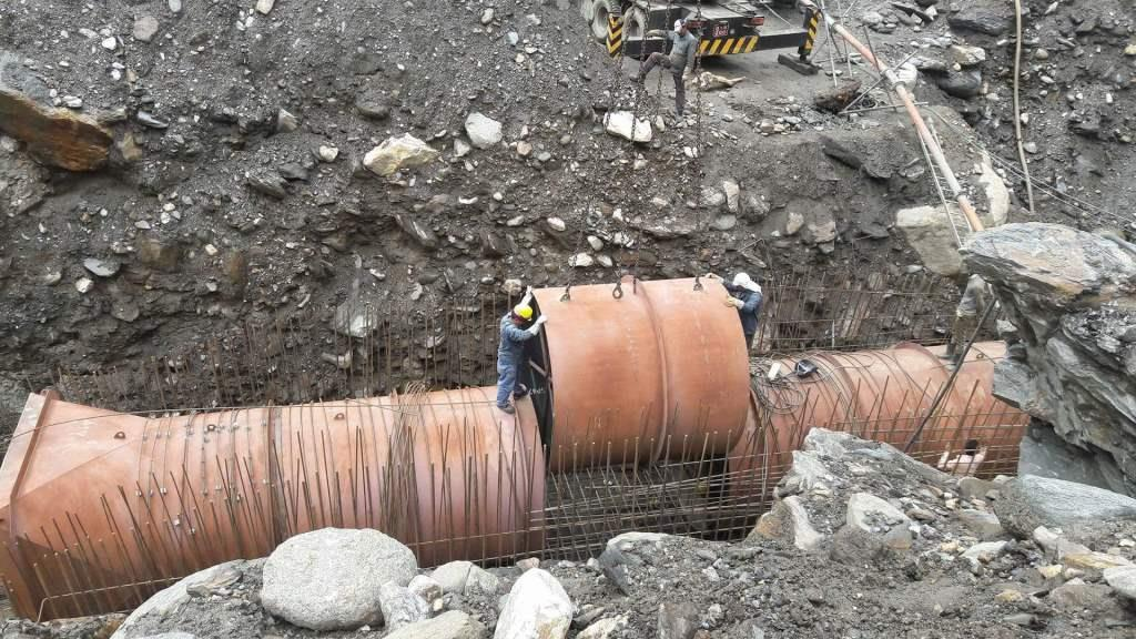 Erection of Syphon Adaptor pipe of Sanjen Hydroelectric Project (42.5) at the site